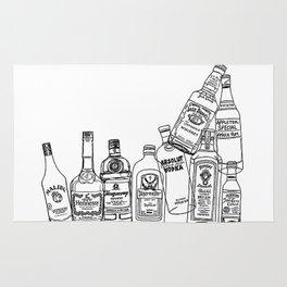 Alcohol Bottles (White) Rug