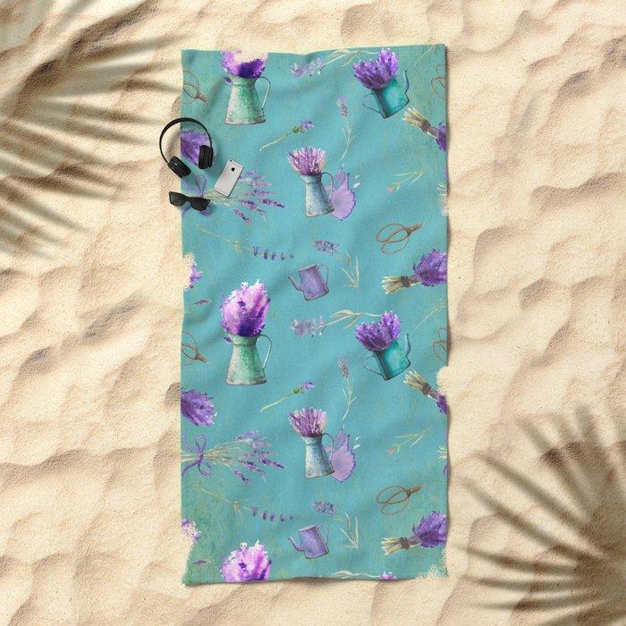 Summer Flower Provence - Lavender Flowers pattern Beach Towel