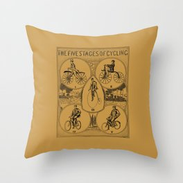 The five stages of cycling (bicycle history) Throw Pillow