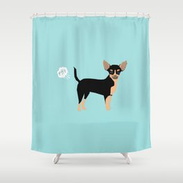 Chihuahua funny fart dog pure breed gifts dog lovers black and tan Shower Curtain