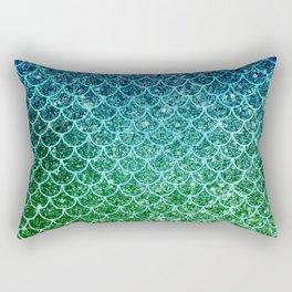 Mermaid Blue & Green Glitter Ombre Scales Rectangular Pillow
