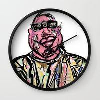 notorious big Wall Clocks featuring Notorious BIG by Jara Montez
