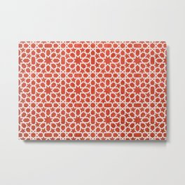 Red, white Design - Geometric oriental pattern, traditional Morocco Style Metal Print