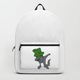 Dabbing St Patrick_s Day Wolf Leprechaun Backpack