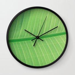 Green Plant Leaf Wall Clock