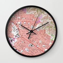 Vintage Map of Whittier California (1965) Wall Clock