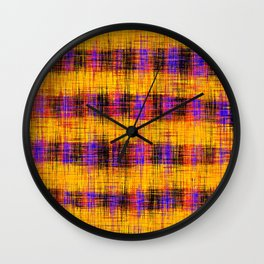 plaid pattern abstract texture in orange yellow pink purple Wall Clock