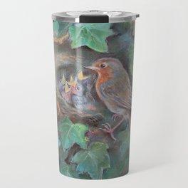 Bird family Robin on the nest Wildlife birds pastel drawing Nature painting Green background Travel Mug