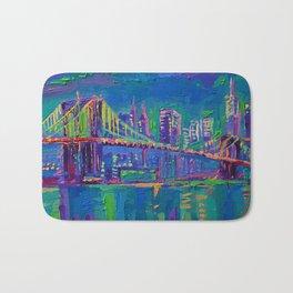 New York City Night Lights - palette knife painting urban Brooklyn bridge skyline Bath Mat