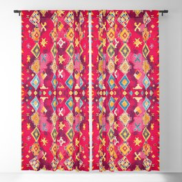 N188 - Lovely Pink Oriental Traditional Boho Moroccan Style Artwork Blackout Curtain