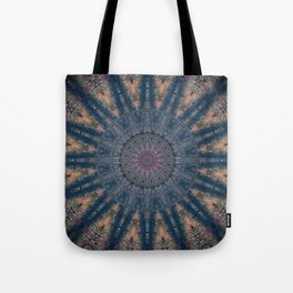 Delicate Navy Blue Bohemian Mandala Tote Bag