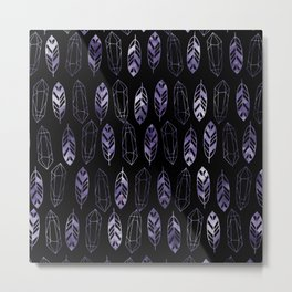 Purple Feathers and Gems on Black Pattern Metal Print