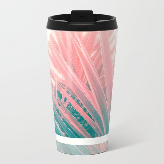 Pastel Palms into Triangle Metal Travel Mug