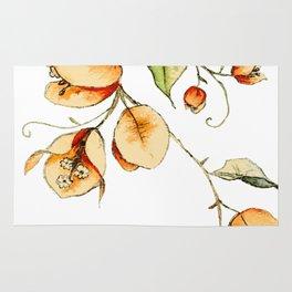 Orange Bougainvillea Illustration Rug