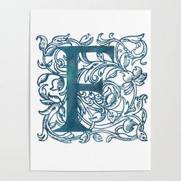 Letter F Antique Floral Letterpress Monogram Poster