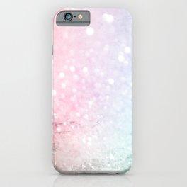 Pretty Pastel Pink Blue Glitter Bokeh Gradient iPhone Case