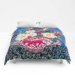 Horse Urn with Tiny Apples and Matilija Queen of California Poppies Floral Still Life Comforters