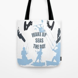 Wake Up Seas The Day Kiteboarder In Teal Shades Tote Bag