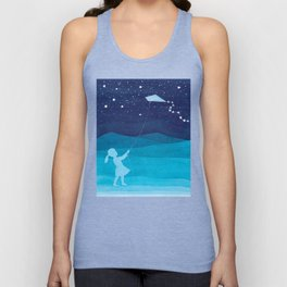 Girl with a kite, blue kids watercolor Unisex Tank Top