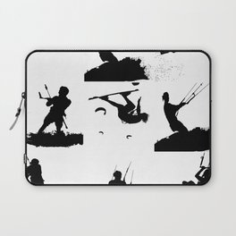 Wakeboarder Silhouette Collage Laptop Sleeve