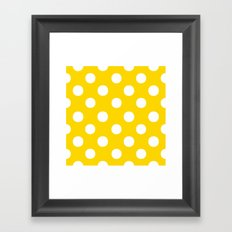 Polka Dots (White/Gold) Framed Art Print
