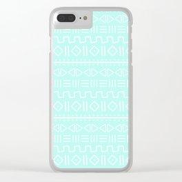 mudcloth white on aqua Clear iPhone Case