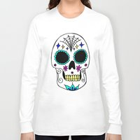 sugar skull Long Sleeve T-shirts featuring Sugar Skull by Julie Erin Designs