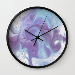 Purple, Blue, and White Abstract Wall Clock