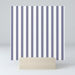 Blue- White- Stripe - Stripes - Marine - Maritime - Navy - Sea - Beach - Summer - Sailor Mini Art Print