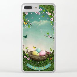 Nest bird eggs Clear iPhone Case