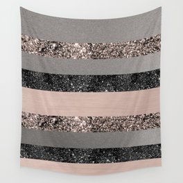 Blush Glitter Glam Stripes #1 #shiny #decor #art #society6 Wall Tapestry