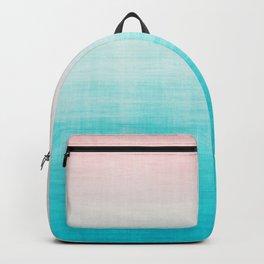 Grunge Pastel Millennial Pink Aqua Blue Teal Mint Linen Pattern Ombre Gradient Texture Backpack