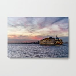 Red Sky Ferry Metal Print