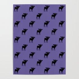 Bull Moose Silhouette - Black on Ultra Violet Poster