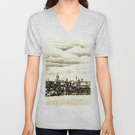 PANORAMA OF A GOTHIC CITY CHELMNO IN POLAND MADE IN FIGURATIVE STYLE Unisex V-Neck