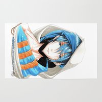 iwatobi Area & Throw Rugs featuring Free! Iwatobi Swim Club Haruka by Mistiqarts