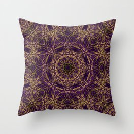 Purple Mandala Hippie Pattern Throw Pillow