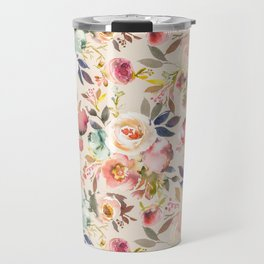 Hand painted ivory pink brown watercolor country floral Travel Mug