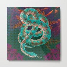 Floral Snake Green Gold Forest Print Metal Print