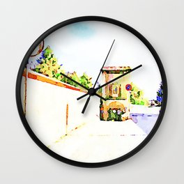 L'Aquila: road mirror with wall and city gate Wall Clock