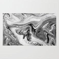 Mizuki - spilled ink marbling paper marble swirl abstract painting original art india ink minimal Rug