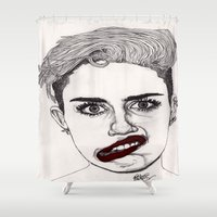miley Shower Curtains featuring Miley with Red Lips by Paul Nelson-Esch Art