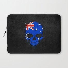 Flag of Australia on a Chaotic Splatter Skull Laptop Sleeve