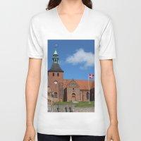 denmark V-neck T-shirts featuring Vor Frue Kirke, Svendborg, Denmark by Anders Riise Koch