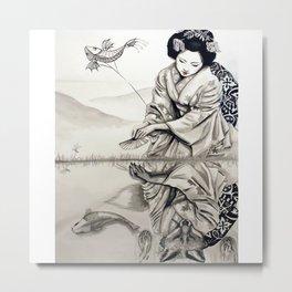 Geisha Fox Metal Print