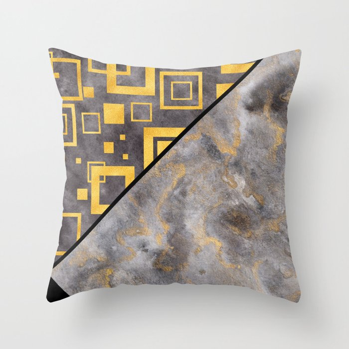 Gold Squares Geometric Black Marble Masculine Pattern Throw Pillow by