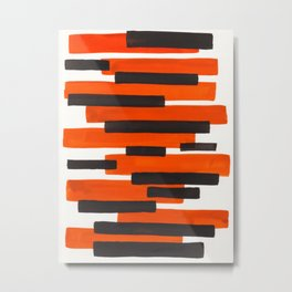 Orange Primitive Stripes Mid Century Modern Minimalist Watercolor Gouache Painting Colorful Stripes Metal Print
