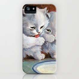 Vintage Cats Drinking Milk - Louis Wain Art iPhone Case