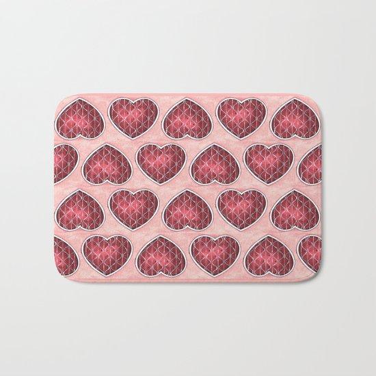 Wine Colored Hearts Bath Mat