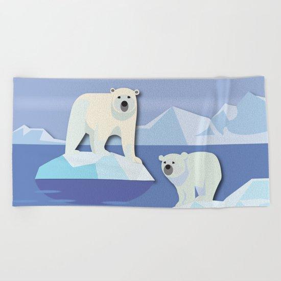 Polar Bears On The Rocks Beach Towel